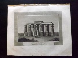 Pelham 1820 Antique Print. Ruins of the Temple of Hermopolis in Egypt